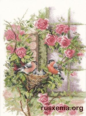 Набор для вышивания крестом Lanarte 34808 Гнездо в плетистой розе.