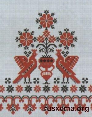 Схема вышивки лебедя на рушник