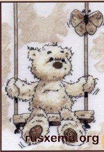 Схема вышивки крестиком Мишки Tompoli 1-8.