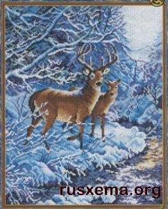 Если же возникла проблема... источник.  Олени в зимнем лесу.  Вышивка крестом, схемы.